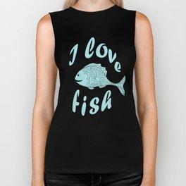 I love fish Biker Tank