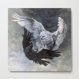 Yin Yang Owl and Raven Metal Print