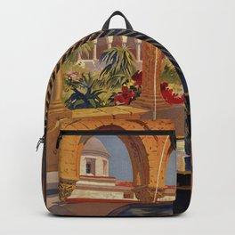 Palermo Monreale vintage 1920s Italian travel ad Backpack