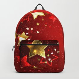 Gold Star on a Red Background Backpack