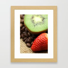Coffee beans Kivi Strawberry Framed Art Print
