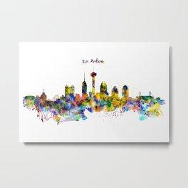 San Antonio Skyline Silhouette Metal Print