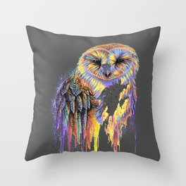 Colorful Owl Dark Background Throw Pillow