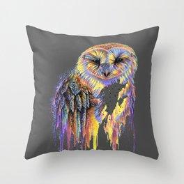 Colorful Owl Dark Background Throw Pillow