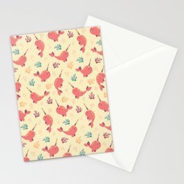To the Window to the Narwhal - Coral & Cream Stationery Cards