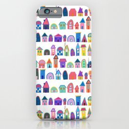 Colorful Neighbors Illustration (White) iPhone Case