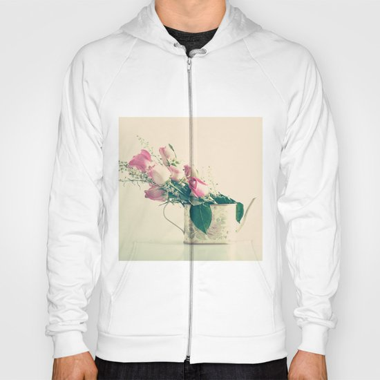 Shabby Chic Roses - Retro Vintage Pink Floral Photography on beige background Hoody