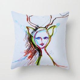 Deer Lady Throw Pillow