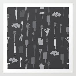 In The Kitchen — Grey Art Print
