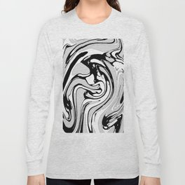 Black, White and Gray Graphic Paint Swirl Pattern Effect Long Sleeve T-shirt