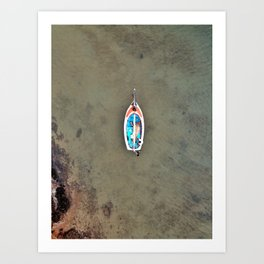 An aerial shot of a colourful sailing boat in Fiji Art Print