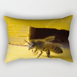 One Honey Bee at the hive at a farm in Massachusetts Rectangular Pillow