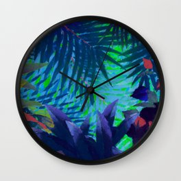 Colorful abstract palm leaves Wall Clock