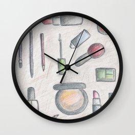 MAKE-UP - pencil and coloured pencil illustration Wall Clock