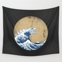 kaiju Wall Tapestries featuring Hokusai Kaiju - Vintage Version by Marco Mottura - Mdk7