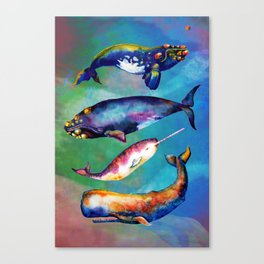 Whale Pyramid #3 - Watercolor Whales Canvas Print