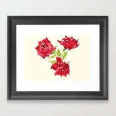 Three Red Roses Framed Art Print
