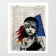 Les Miserables Poster on Dictionary Page for Liberty Art Print