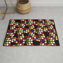 graphic pattern rubiks cube Rug