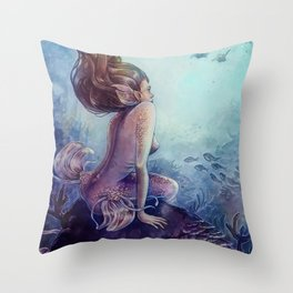 Siren of the reef Throw Pillow