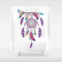 Colorful dream catcher on arrow Shower Curtain