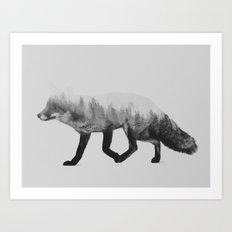 The Fox (black & white version) Art Print