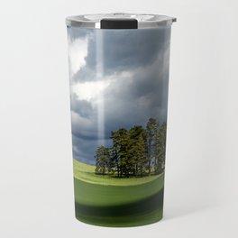 Tree Group in Green Field Travel Mug