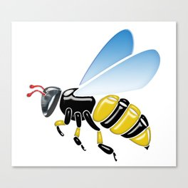 Three Dimensional 3D shiny Yellow and Black Bumble Bee Canvas Print