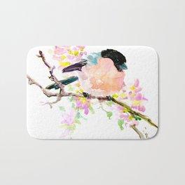 cute bird art, Bullfinch and Spring Bath Mat