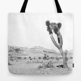 Vintage Desert Scape B&W // Cactus Nature Summer Sun Landscape Black and White Photography Tote Bag