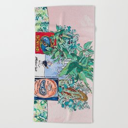 Jungle Botanical in Colorful Cans on Pink - Still Life Beach Towel
