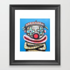 Clown with small advertisement Framed Art Print