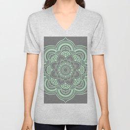 Mandala Flower Gray & Mint Unisex V-Neck