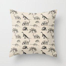 Museum Animals | Dinosaur Skeletons on Cream Throw Pillow