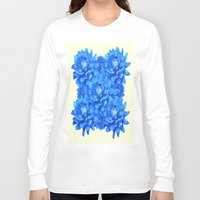 blankets Long Sleeve T-shirts featuring Decorative  Opulent Baby Blue Dahlia Flowers Art Work Design by SharlesArt