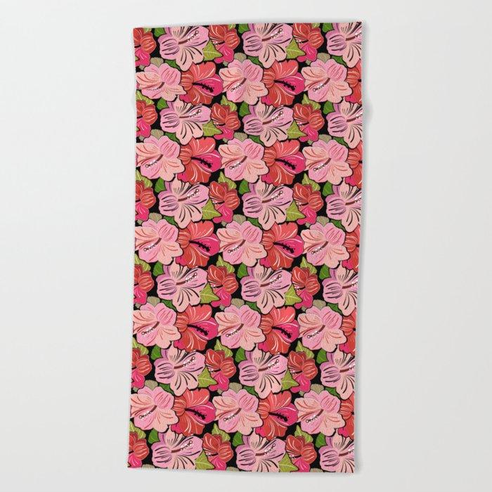Pink Hibiscus Floral Pattern Beach Towel
