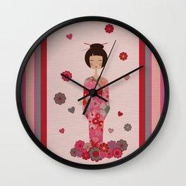 Kokeshi Geisha Japan Wall Clock