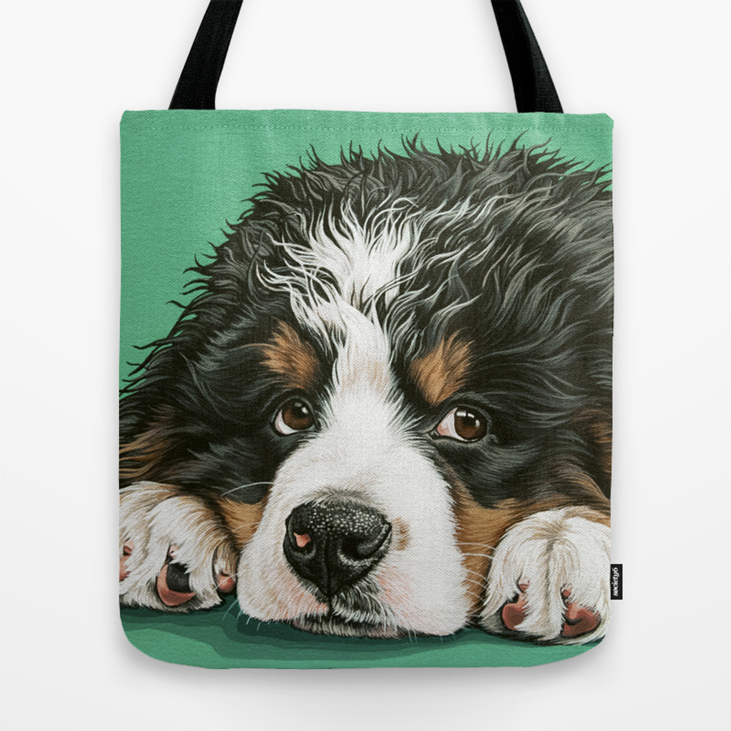 Cute Bernese Mountain Dog Puppy Pet Portrait Tote Bag By Sydneyhardin Society6