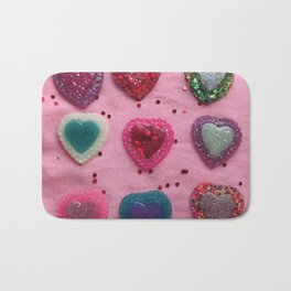 Glitter Hearts Club Bath Mat