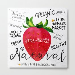 Watercolor strawberry Metal Print
