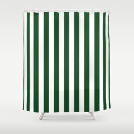 Large Forest Green and White Rustic Vertical Beach Stripes Shower Curtain