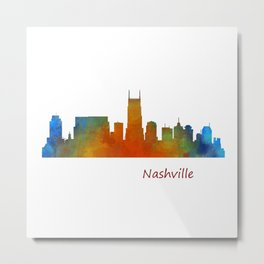 nashville city skyline Tennessee watercolor v1 Metal Print