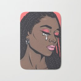 Coral Pink Crying Comic Girl Bath Mat
