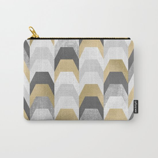 Stacks of Gold and Grey Carry-All Pouch