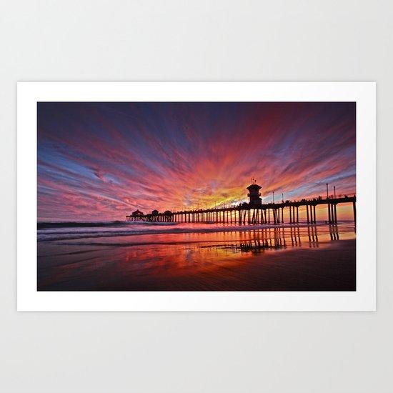 Sunset Huntington Beach Pier CA   Art Print
