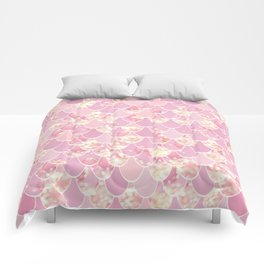 Cute Mermaid Scales Pattern, Pink and Gold Comforters