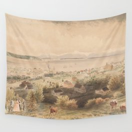 Vintage Pictorial View of Seattle & The Puget Sound Wall Tapestry