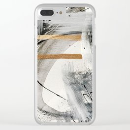 Armor [7]: a bold minimal abstract mixed media piece in gold, black and white Clear iPhone Case