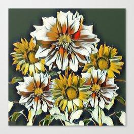 WHITE & YELLOW FLOWER STILL LIFE PASTELS Canvas Print