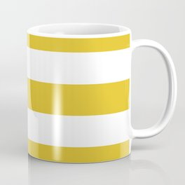 Durian Yellow - solid color - white stripes pattern Coffee Mug